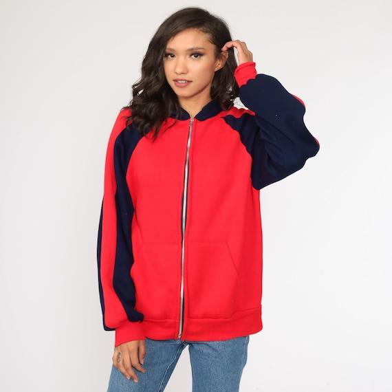 Hoodie Sweatshirt Red Zip Up Sweatshirt 80s Hoode… - image 3