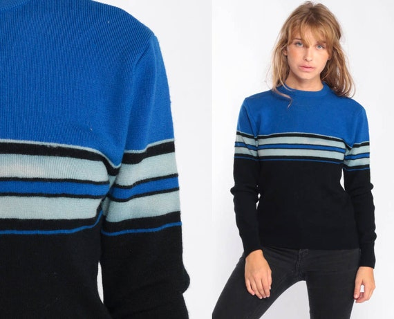 Striped Sweater Knit Pastel Sweater 80s Pullover Sweater Retro Blue Black Crew Neck Color Block Hipster Jumper Vintage Grunge Small Medium