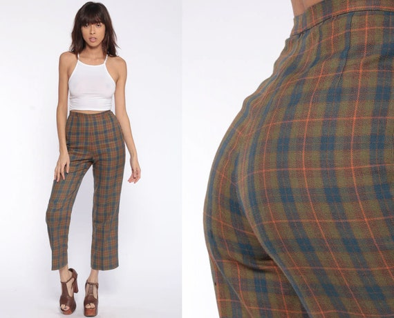 70s Plaid High Waisted Bell Bottoms Vintage Trousers Green Blue Tartan Plaid Flared Checkered Extra Small xs 0 24