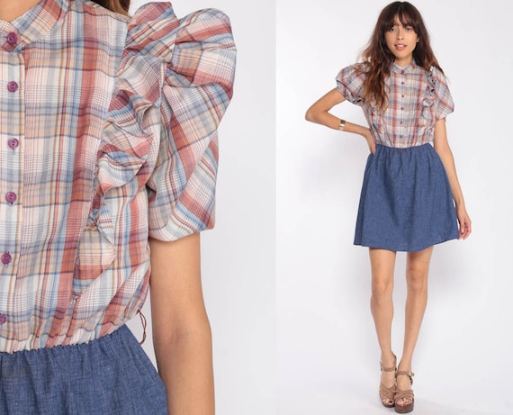 70s Mini Dress Plaid Dress Checkered Preppy PUFF SLEEVE Dress Ruffle 1970s High Waist Dolly Blue Brown Vintage Retro MiniDress Small
