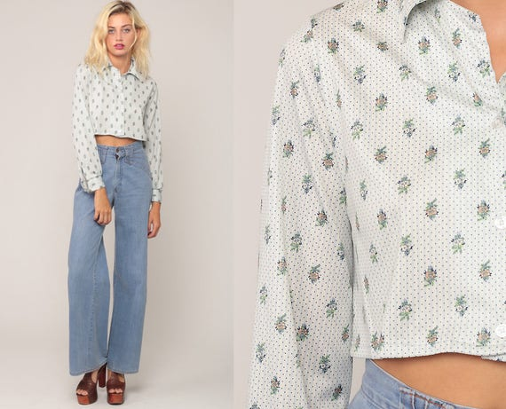Boho Crop Top Floral Blouse 70s Button Up Shirt Bohemian Cropped Shirt 1970s Vintage Boho Hippie Blue White Long Sleeve Small Medium