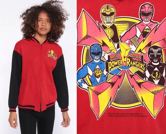 Vintage Power Rangers Jacket 90s Kid Track Jacket MIGHTY MORPHIN Power Rangers Sweatshirt Bomber Kawaii Nostalgia Red Black Extra Small XS