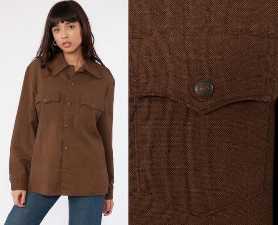 70s Levis Shirt Button Up Shirt Brown Snap Shirt Levi Strauss Shirt Long Sleeve Cotton Oversized Vintage 1970s Small Medium