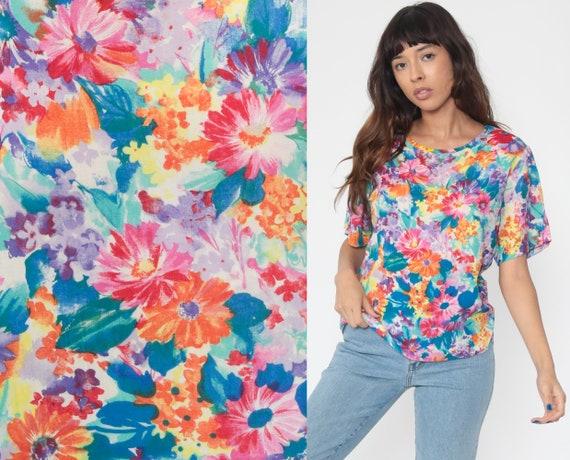 Floral T Shirt 90s Grunge Bright Floral Tee Short Sleeve TShirt Flower Print Purple Blue Shirt 1990s Vintage Medium