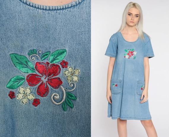 Embroidered Denim Dress 90s Mini FLORAL Jean Shift 1990s Grunge Blue Hipster Vintage Minidress Retro Short Sleeve Large