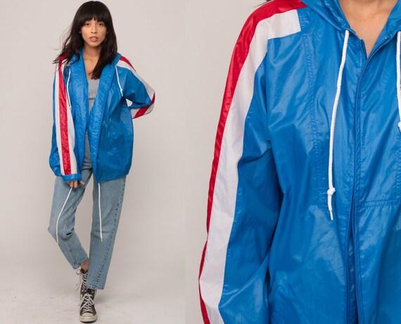 Izod Lacoste Jacket 80s Windbreaker HOODED Striped 70s Jacket Hoodie Red White Blue Shell Hipster Coat Vintage 1980s Hood Medium Large