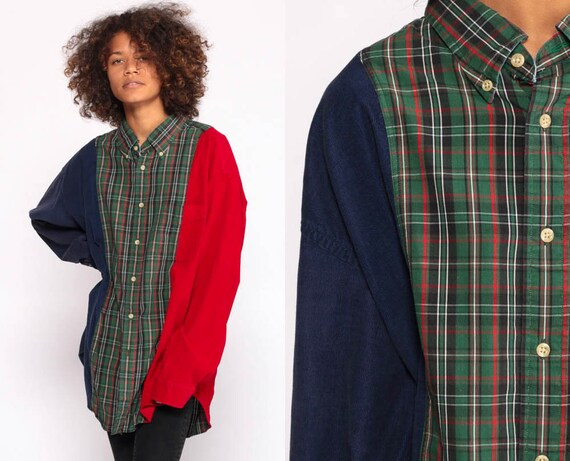 Color Block Shirt Tommy Hilfiger Shirt Plaid Shirt CORDUROY Shirt 90s Flannel Red Blue Grunge Long Sleeve Button Up Vintage Extra Large xl