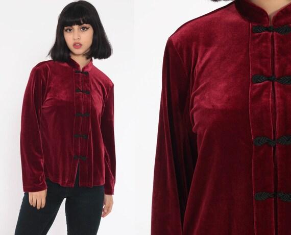 Velvet Chinese Shirt Asian Blouse 90s Velvet Shirt Burgundy Wine Top Frog Closure Button Up Mandarin Collar Long Sleeve Vintage Large