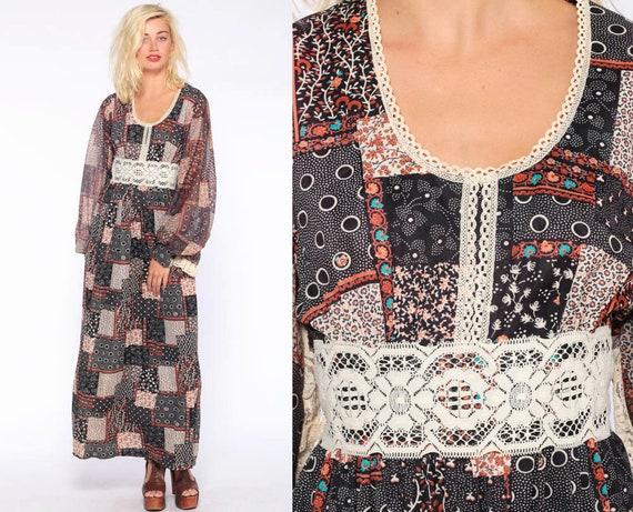 Long Patchwork Dress 70s Maxi Dress Bohemian Floral Lace 1970s Boho Long Balloon Sleeve Festival Vintage Empire Waist Small