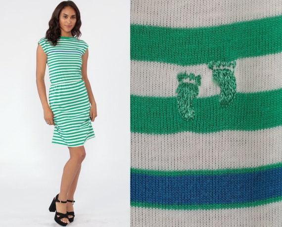 Vintage Hang Ten Dress Striped Mini Dress 80s Stranger Things V Back High Waisted Short Cap Sleeve Summer Ringer Green White 1980s Small xs
