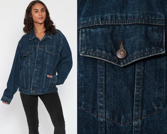 Jean Jacket 80s IN CROWD Denim Jacket Dark Blue 1980s Vintage Biker Trucker 90s Grunge Coat Pockets Oversized Denim Coat Medium Large