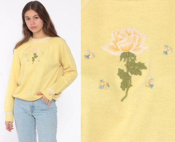 Floral Sweatshirt 80s Yellow Rose Shirt Vintage RAGLAN Sleeve Sweater Pastel Kawaii Graphic 1980s Slouchy Small Medium