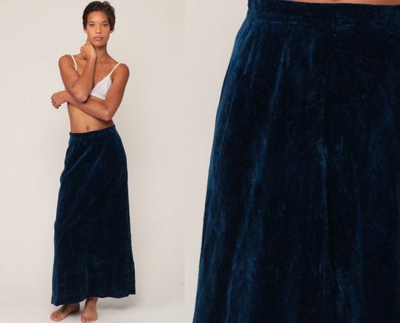 Velvet Maxi Skirt 70s Boho Blue Skirt Goth Party 1970s Long Skirt Vintage Hippie Festival Bohemian Small