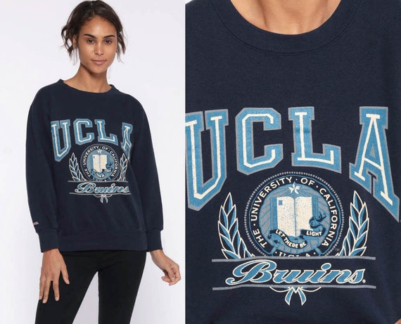 University Sweatshirt UCLA 90s Graphic LOS ANGELES California Raglan College Slouchy Sweater Grunge 1990s Vintage Navy Blue Extra Small xs