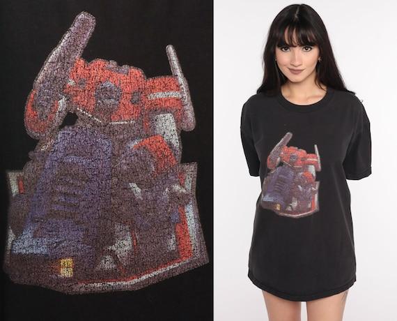 Vintage Transformers Shirt 90s Graphic Tshirt Black Robot Cartoon Top Retro Throwback T Shirt Large xl l