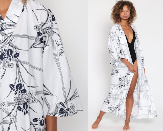 Floral Kimono Robe Cotton Maxi Robe White Print Bohemian Lingerie Jacket Dressing Gown Long Wrap Vintage Boho Hippie Medium Large