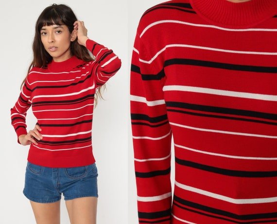 Red Striped Sweater 70s Sweater Knit Pullover Mock Neck Sweater White Black 80s Bohemian Hippie Vintage Small