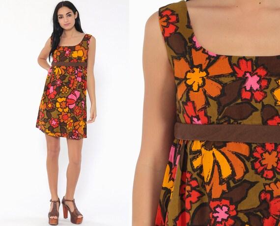 Floral Babydoll Dress 60s Mod Mini Summer Party Empire Waist 70s Vintage Gogo Sixties Sleeveless Flower Print Bow Yellow Pink Hawaiian Small