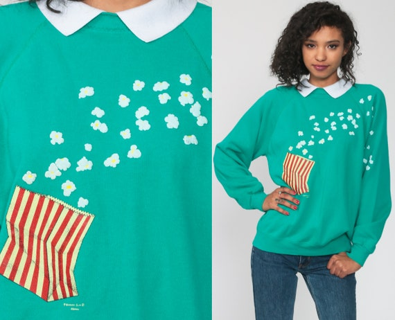 Collared Popcorn Sweatshirt Hanes Shirt 80s Grandm