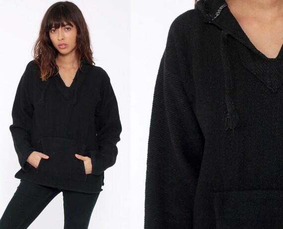 Baja Hoodie Sweatshirt Mexican Sweater Drug Rug Plain Black Sweatshirt Woven Poncho Hippie Boho Hoody Jacket Vintage Blanket Bohemian Large