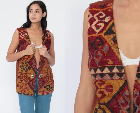 Concho Tapestry Vest Boho Vest Tribal Suede 70s Hippie Ethnic Southwestern Festival 1970s Bohemian Southwest Sleeveless Vintage Medium