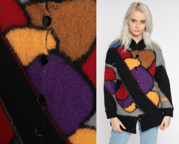 Wool Cardigan Sweater 80s Sweater Geometric Sweater Grey Black Button Up 1980s Heavy Vintage Boho Striped Large L
