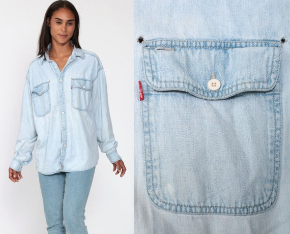 Levi Jean Shirt 90s LEVI STRAUSS Denim Shirt Button Up Jean Shirt Light Blue Grunge Long Sleeve Cotton Oversize Button Down Extra Large xl l