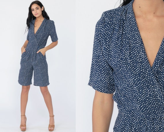 Polka Dot Onesie Grunge Romper 90s Boho Playsuit Mini Dress Blue One Piece Woman Deep V Neck Wrap Summer 1990s Short Sleeve Small