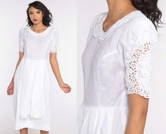 White Lace Dress 80s Peasant Lace Dress Linen Cotton Boho Puff Sleeve Dress Apron Midi Vintage Hippie Bohemian Slouchy High Waisted Small