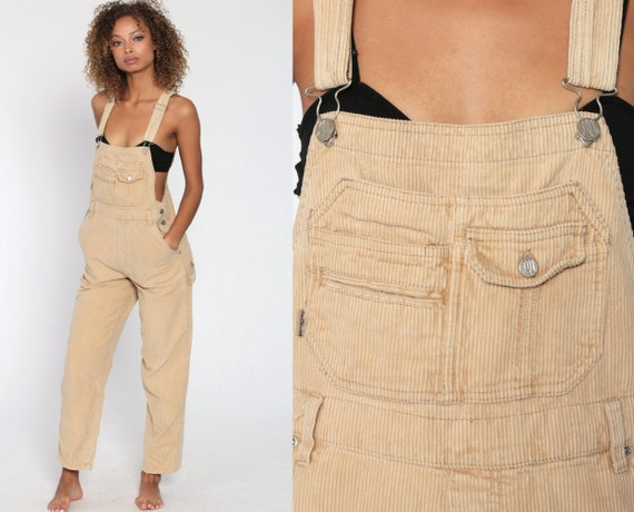 Corduroy Overalls Women 90s Tan SQUEEZE Grunge Pants 80s Baggy Bib Cargo Vintage Dungarees Coveralls Retro Small