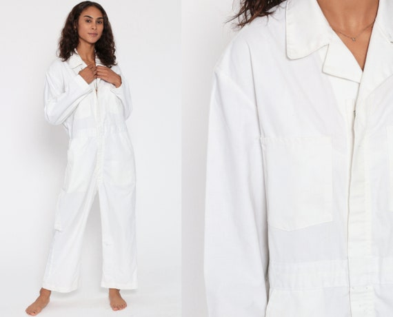 90s Work Wear Jumpsuit White Long Sleeve Boiler Suit Workwear One Piece Work Wear Grunge Onesie Vintage Pantsuit Mechanic Medium Large