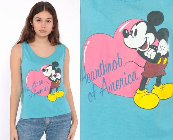 Mickey Mouse Tank Top HEARTTHROB Mickey Shirt 80s Disney Kawaii Sleeveless Grunge Graphic Cartoon T Shirt Blue Singlet Vintage Retro Small