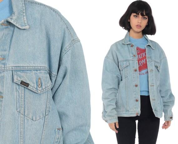 80er Jahre Denim Jacke Rehe Licht blaue Jeansjacke Trucker 1980er Jahre Vintage Biker 90er Jahre Grunge Mantel Mittel groß