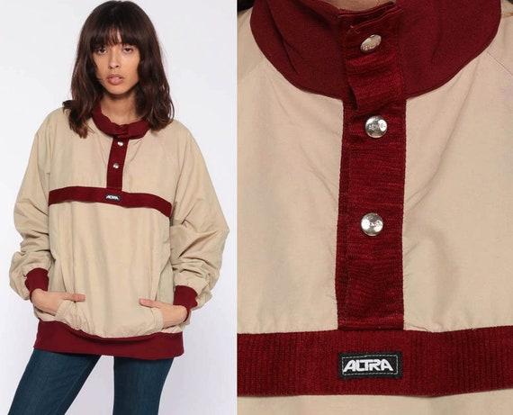 70s Pullover Jacket 80s Windbreaker Jacket Stripe Jacket Retro Khaki Tan Rust Lightweight Thin Shell Jacket Vintage 1980s Extra Large xl