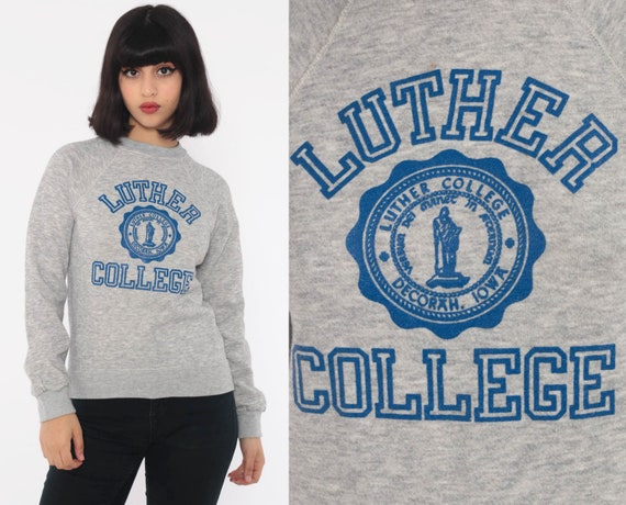 Luther College Sweatshirt 80s Iowa University Shirt Graphic College Iowa Sweater Grunge Vintage Grey Extra Small xs