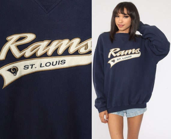 St Louis Rams Sweatshirt Missouri 90s Sweatshirt NFL Football Jumper Sportswear 1990s Blue Large