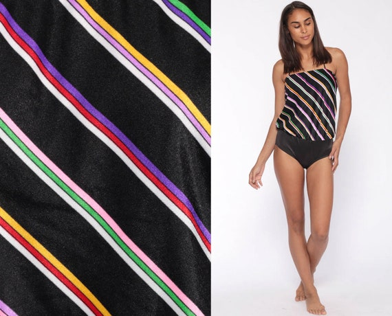 One Piece Swimsuit 70s Bathing Suit STRIPED Swim Suit 80s Slouchy Vintage Black Retro Bohemian Halter Neck Extra Small xs 34