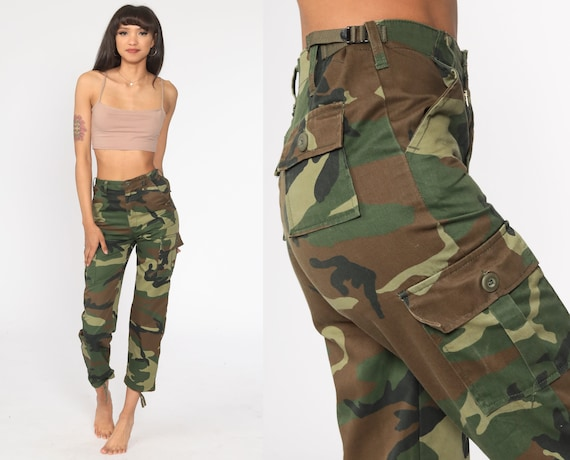 Army Camo Pants xs CARGO Pants 80s Military High Waisted Combat Olive Green Camouflage 1980s Vintage Punk Grunge Olive Drab Extra Small xs