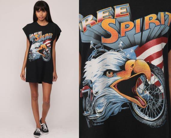 Biker Shirt FREE SPIRIT Eagle Shirt American Flag Tank Top 90s Motorcycle Graphic Tee 80s Vintage Black Retro Shirt Large