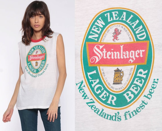 Steinlager Beer Tank Top New Zealand Shirt 80s Burnout Ringer Tee Lager Graphic Drinking Alcohol Sleeveless Vintage Muscle Tee Small Medium