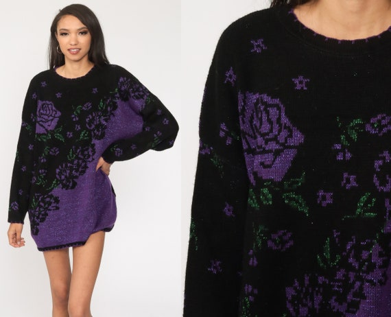 Metallic Floral Sweater 80s Sparkle Print Glitter Acrylic Flower Print Black Purple Long Sleeve Pullover Knit Slouch Extra Large xl