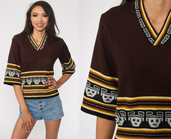 Boho Aztec Sweater 70s Bohemian Tribal BELL SLEEVE Ethnic Southwest Stripe V Neck Vintage 1970s Brown Pullover Festival Knit Small S