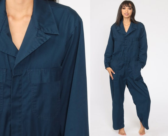 Navy Boiler Suit 42 S 90s Coveralls Pants Jumpsuit Long sleeve Boilersuit Workwear Coverall Blue One Piece Work Wear Vintage Mechanic
