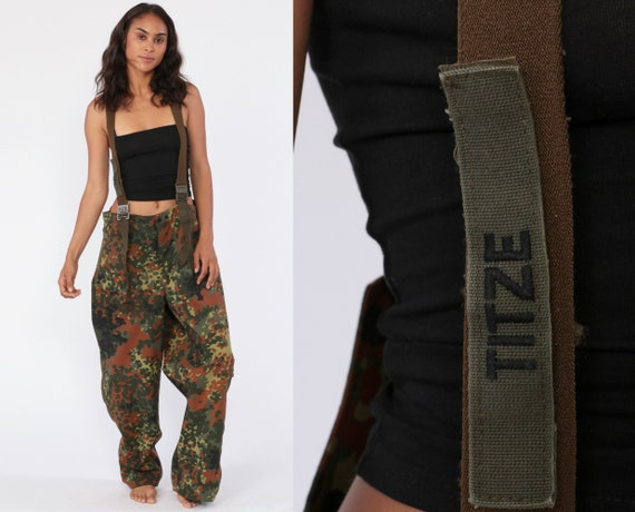 Suspender Camo Pants 1998 Army Pants CARGO Pants Military Pants Combat Olive Green Camouflage 90s Vintage Grunge German Small Medium