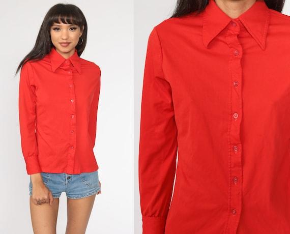 70s Red Shirt Dagger Collar Shirt Button Up Shirt Long Sleeve Top Disco Shirt 1970s Collared Plain Oxford Small
