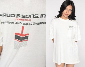 Vintage Painter Shirt 90s Fauci & Sons Shirt Paintbrush Shirt Graphic Slogan Screen Print Tee Vintage White Large xl l