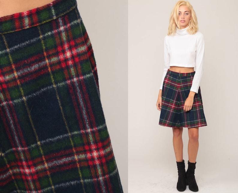 bc94141bd Plaid Skirt Mini High Waisted 70s Mod Tartan Preppy Knit Red | Etsy