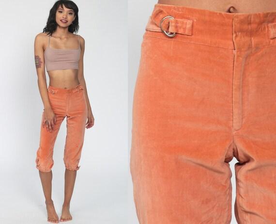 Velvet Capri Pants 70s High Waisted Trouser Orange Cropped Pants1970s Bohemian Vintage Boho Retro Hipster Extra Small Xs 26