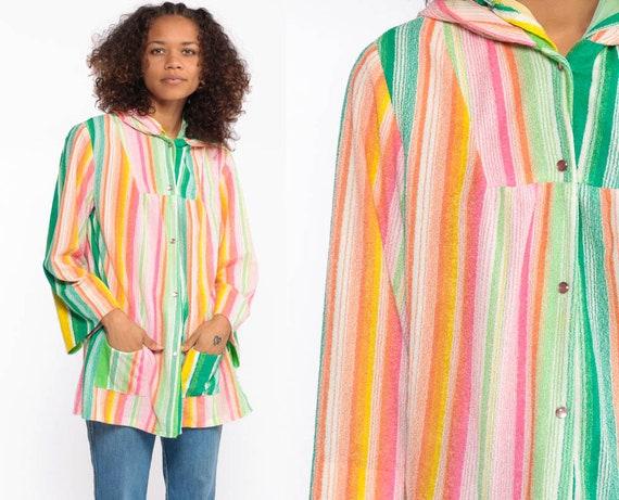 Rainbow Shirt Hooded Shirt Bohemian Top Striped 70s Hippie Beach Cover Up TERRY CLOTH Hood Boho Top 1970s Hoodie Long Sleeve Small Medium
