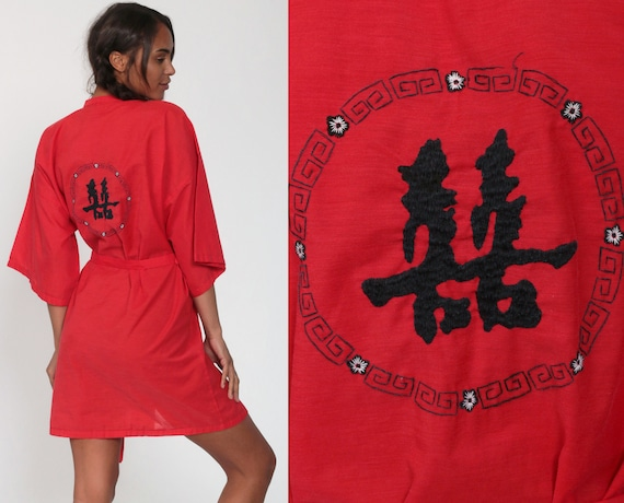 Kimono Robe Jacket Asian Lettering Embroidered Red Cotton 90s Bohemian Wrap Vintage Boho Hippie Festival Red Dressing Gown Small